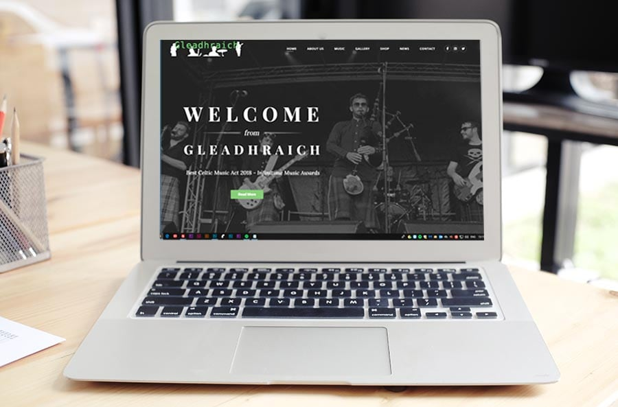 gleadhraich band website design in scotland