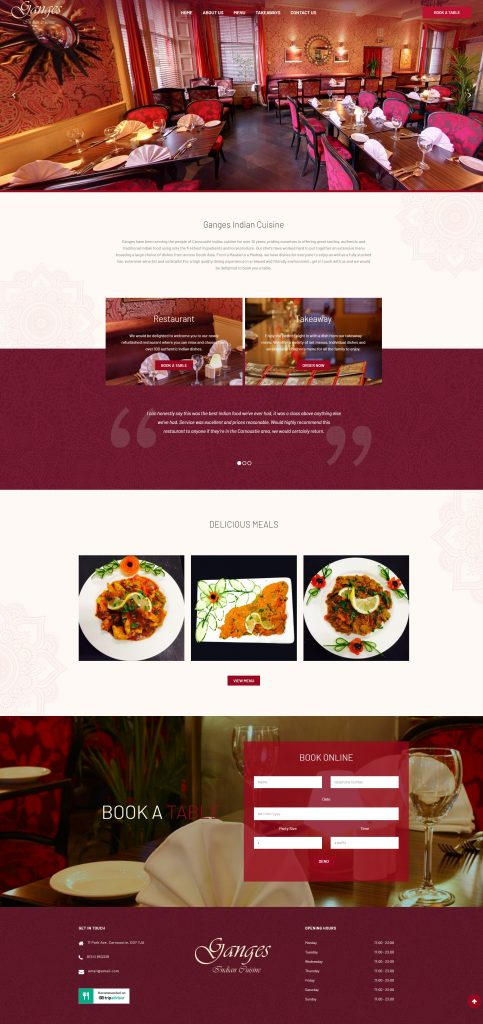 restaurant website design in dundee
